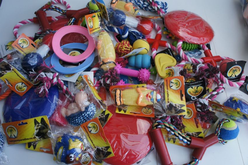 BULK ASSORTED PET DOG SQUEAKY CHEW ROPE BALL RUBBER FETCH TOYS X 24